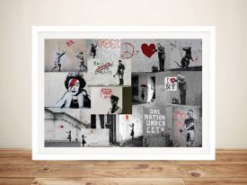 Banksy Red Collage Framed Canvas Picture