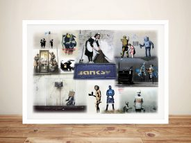 Banksy Slight Colour Collage Print on Canvas