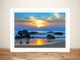Sunset Beach Rocks Framed Artwork Sydney