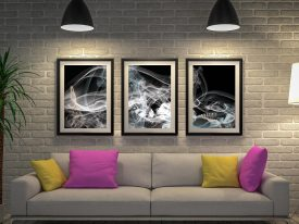 Smoke Composition Triptych Wall Art