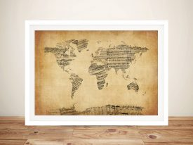 Map of the World Map from Old Sheet Music Framed Wall Art Australia