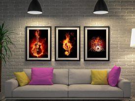 Fiery Music 3 Piece Canvas-Artwork-Triptych