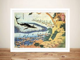 Ocean Landscape and Whale Hokusai Wall Art