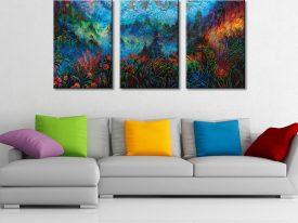 Stormy Splendor - Iris Scot Triptych Three Panel