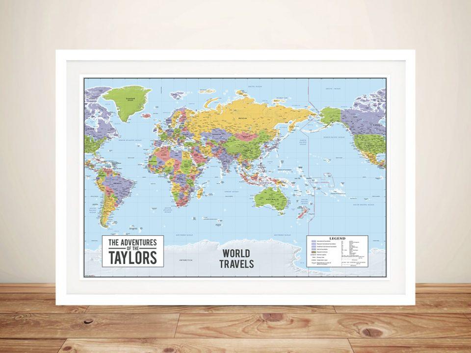 World map australia centric Framed Poster Art