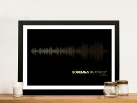 Queen Bohemian Rhapsody-Black and Gold Soundwave Art