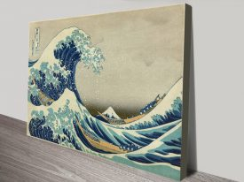 Under the Great Wave of Kanagawa Canvas Print Art by Hokusai
