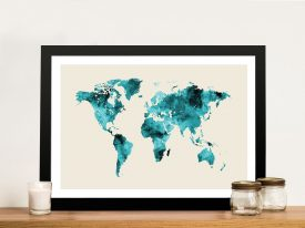 Buy A Framed Emerald Green Map of the World