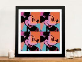 Mickey Mouse Pop Art Framed Warhol Artwork