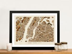 NYC Street Map in Autumnal Colours Wall Art