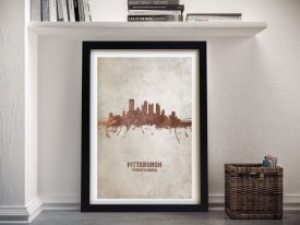 Buy Pittsburgh Skyline in Rust Colours Wall Art
