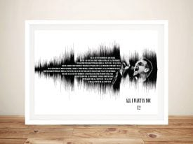 Buy U2 All I Want is You Soundwave Canvas Art