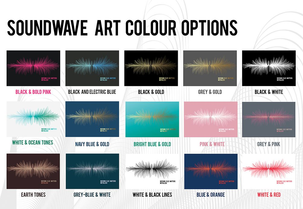 Soundwave Art Colour Options Chart