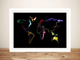 Buy Abstract Paint Effect World Map Artwork