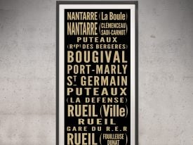 Vintage Paris Bus Sign Art