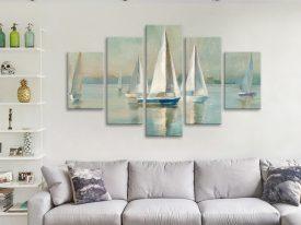 Buy Sailboats at Sunrise 5-Panel Canvas Art