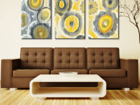 Abstract Circles Triptych Art Picture 3 Panel Danhui Nai