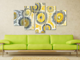 Abstract Circles Crop Five Panel Art Prints on Canvas