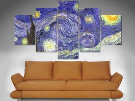 starry night 5 panel wall art canvas print