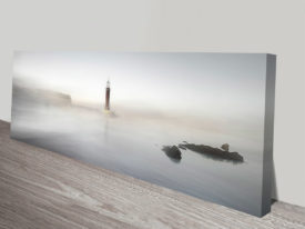 Lighthouse in the Mist Seascape Panoramic Ready to Hang Canvas