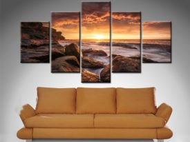 sunset at the sea 5 panel wall art canvas print