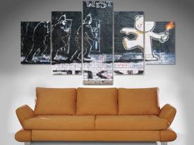 banksy the mild mild west 5 panel wall art print