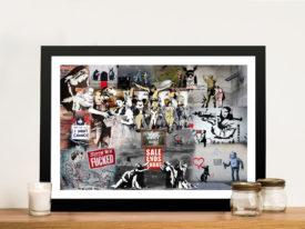Banksy Collage Framed Wall Art Print