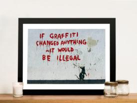 Banksy Graffiti Rat Framed Wall Art