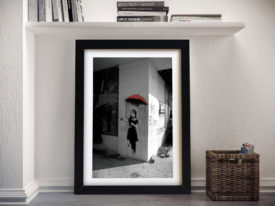 Banksy Raingirl Red Framed Wall Art