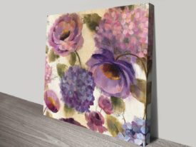 Blue and Purple Flower Song III Canvas Floral Artwork