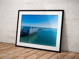 Busselton Jetty Huts Aerial Framed Prints Perth