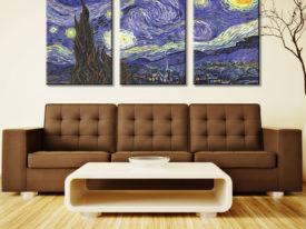 Van Gogh starry night triptych art