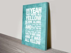 Coldplay Song Lyrics Art Yellow