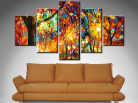 colorful night 5 panel wall art canvas print