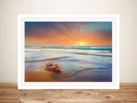 Beach Dusk Orange Sunset Canvas Wall Art