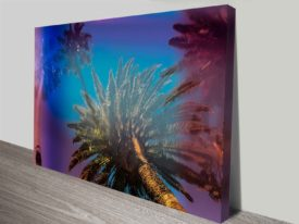 blue sky and palm trees photo artwork on canvas