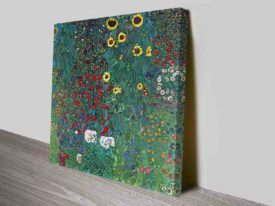 Farm Garden with Sunflowers by Gustav Klimt Ready to Hang Canvas Art