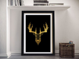 Golden Stag Framed Abstract Canvas Picture