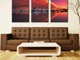 Ice & Fire Glacier Sunset 3 Panel Photo