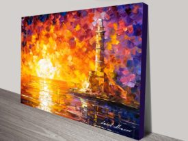 Lighthouse & Sunset leonid Afremov Print Wall Canvas