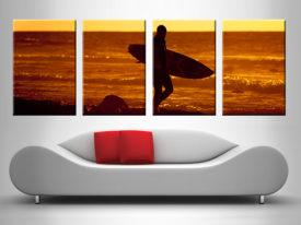 sunset surfer 4 panel custom wall art print