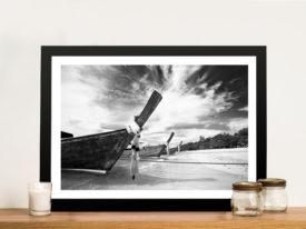 Long Tail Boats Thailand Black & White Framed Print