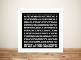 Marry You by Bruno Mars Typographic Canvas Word Art