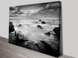 Mystical Islands Black and White Canvas Print