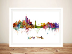 New York Watercolour Framed Wall Art Picture