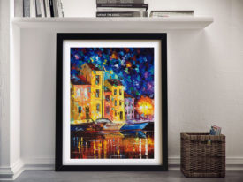 Night City Afremov Framed Wall Art Decor