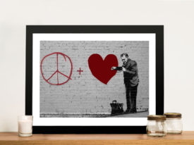 Peaceful Hearts-Banksy Red Framed Wall Art