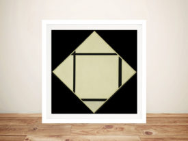 Piet Mondrian Tableau I Lozenge with Four Lines and Gray Framed Wall Art
