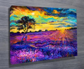 Purple Impressionism Landscape Painting Abstract Wall Art Print