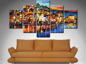 quiet town 5 panel wall art canvas print